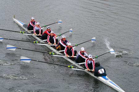 BOSTON - OCTOBER 18: Brock University Rowing Club womens rowing team competes in the Head Of The Charles Regatta October 18, 2009 in Boston, Massachusetts.  Editorial