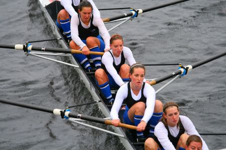 BOSTON - OCTOBER 18: Skadi Rowing Club of Rotterdamn, Netherlands womens rowing team competes in the Head Of The Charles Regatta on October 18, 2009 in Boston, Massachusetts.