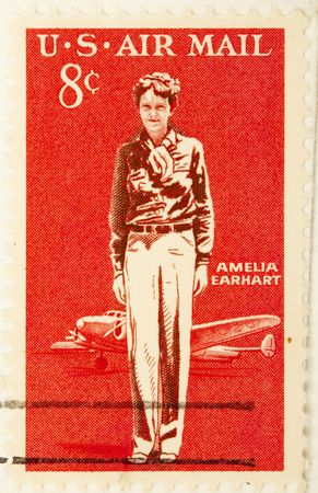 USA - CIRCA 19635 : A stamp printed by USA shows  Amelia Earhart, circa 1963 . Stock Photo