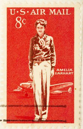 USA - CIRCA 19635 : A stamp printed by USA shows  Amelia Earhart, circa 1963 . Stock Photo