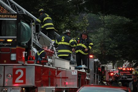 SOMERVILLE, MASSACHUSETTS - JUNE 27: Firefighters from at least 4 fire house battle a blaze at 111 Glenwood Road June 17,2010 in Somerville, MA