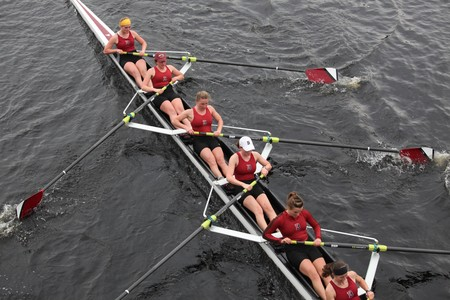 BOSTON - OCTOBER 24: Bates College Womens Crew  competes in the Head of the Charles Regatta  on October 24, 2010 in Boston, Massachusetts.