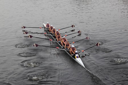 BOSTON - OCTOBER 24: The Williams College Boat Club competes in the Head of the Charles Regatta  on October 24, 2010 in Boston, Massachusetts.