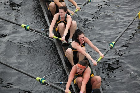 BOSTON - OCTOBER 24: The University of Vermont Women compete in the Head of the Charles Regatta  on October 24, 2010 in Boston, Massachusetts.