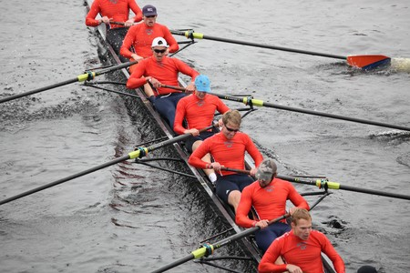 sculling: BOSTON - OCTOBER 24: Bucknell University  mens Crew competes in the Head of the Charles Regatta on October 24, 2010 in Boston, Massachusetts.  Editorial