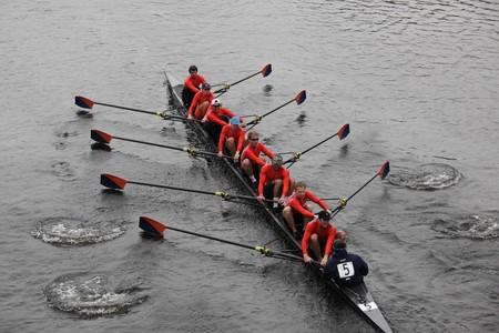 BOSTON - OCTOBER 24: Bucknell University  men's Crew competes in the Head of the Charles Regatta on October 24, 2010 in Boston, Massachusetts.