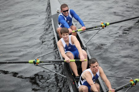 BOSTON - OCTOBER 24:  Grand Valley State University  mens Crew competes in the Head of the Charles Regatta on October 24, 2010 in Boston, Massachusetts.