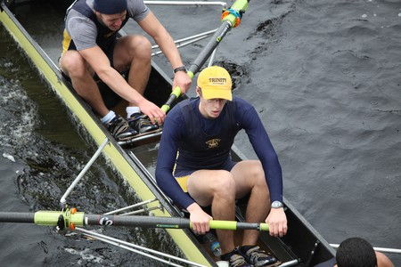 sculling: BOSTON - OCTOBER 24: Trinity College mens Crew competes in the Head of the Charles Regatta on October 24, 2010 in Boston, Massachusetts.