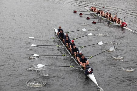 BOSTON - OCTOBER 24: US Coast Guard Academy mens Crew competes in the Head of the Charles Regatta on October 24, 2010 in Boston, Massachusetts.
