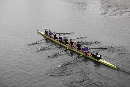 BOSTON - OCTOBER 24: Williams College Boat Club mens Crew competes in the Head of the Charles Regatta on October 24, 2010 in Boston, Massachusetts.  Editorial