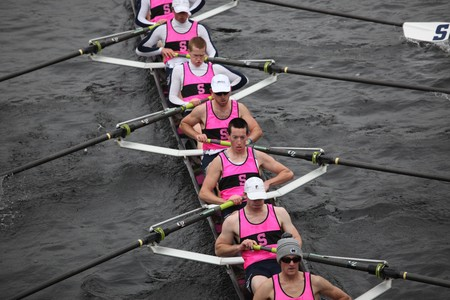 sculling: BOSTON - OCTOBER 24: Penn State University mens Crew competes in the Head of the Charles Regatta on October 24, 2010 in Boston, Massachusetts.  Editorial