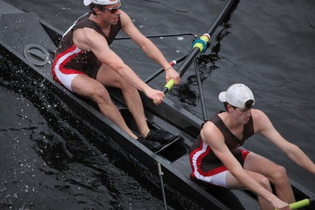 sculling: BOSTON - OCTOBER 24: St. Lawrence University mens Crew competes in the Head of the Charles Regatta on October 24, 2010 in Boston, Massachusetts.