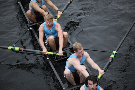 BOSTON - OCTOBER 24: Tufts University mens Crew competes in the Head of the Charles Regatta on October 24, 2010 in Boston, Massachusetts.