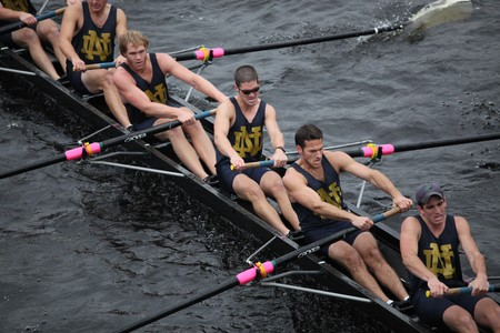BOSTON - OCTOBER 24: University of Notre Dame mens Crew competes in the Head of the Charles Regatta on October 24, 2010 in Boston, Massachusetts.
