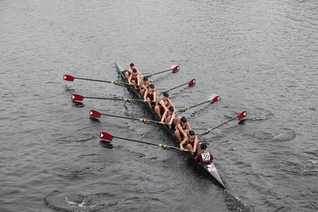 BOSTON - OCTOBER 24:  Bishop Eustace Prep School mens Crew competes in the Head of the Charles Regatta on October 24, 2010 in Boston, Massachusetts.  Editorial