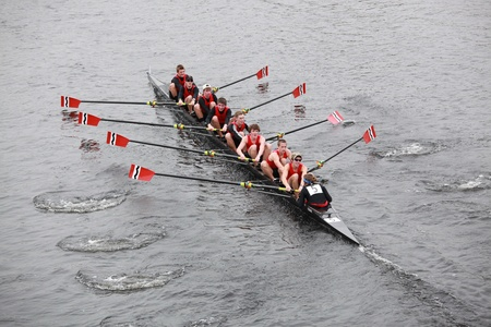 BOSTON - OCTOBER 24:  Community rowing Men 18 and Under mens Crew competes in the Head of the Charles Regatta on October 24, 2010 in Boston, Massachusetts.
