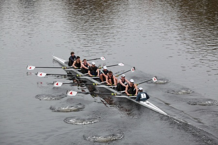 sculling: BOSTON - OCTOBER 24: Eton College Men 18 and Under mens Crew competes in the Head of the Charles Regatta on October 24, 2010 in Boston, Massachusetts.