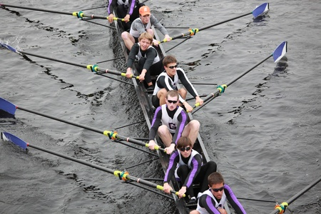 18: BOSTON - OCTOBER 24: Gonzaga College High School   Men 18 and Under mens Crew competes in the Head of the Charles Regatta on October 24, 2010 in Boston, Massachusetts.