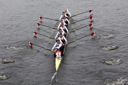 harvard university: BOSTON - OCTOBER 23: Deutscher Ruder Verband Germany races in the Head of Charles Regatta Harvard University won with a with a time of 14:17 on October 23, 2011 in Boston, MA.
