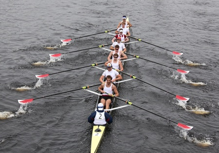 BOSTON - OCTOBER 23: Harvard Mens Eights races in the Head of Charles Regatta on winning with a time of 14:17 on October 23, 2011 in Boston, MA.
