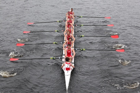 university of wisconsin: BOSTON - OCTOBER 23: University Of Wisconsin races in the Head of Charles Regatta Harvard University won with a with a time of 14:17 on October 23, 2011 in Boston, MA.  Editorial
