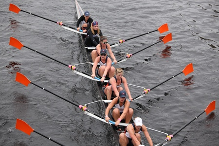 eights: BOSTON - OCTOBER 23: University Of Virginia Women  Eights races in the Head of Charles Regatta. Williams College won with a time of 14:17 on October 23, 2011 in Boston, MA.