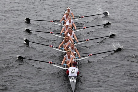 BOSTON - OCTOBER 23: Amsterdam Student Rowing womens Eights races in the Head of Charles Regatta. Williams College won with a time of 14:17 on October 23, 2011 in Boston, MA.