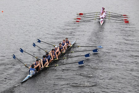 eights: BOSTON - OCTOBER 23: Shaker Rowing Association youth men Eights races in the Head of Charles Regatta. Marin Rowing Association won with a time of 15:06 on October 23, 2011 in Boston, MA.