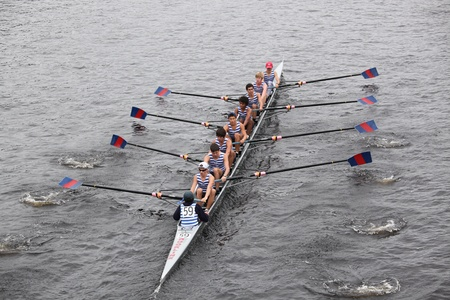 BOSTON - OCTOBER 23: Riverside Boat Club youth mens Eights races in the Head of Charles Regatta. Marin Rowing Association won with a time of 15:06 on October 23, 2011 in Boston, MA. Stock Photo - 11186335