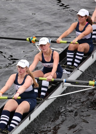 BOSTON - OCTOBER 23: Our Lady of Mercy youth womens Eights races in the Head of Charles Regatta. Oakland Strokes won with a time of 17:12 on October 23, 2011 in Boston, MA.