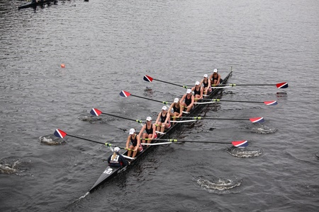 eights: BOSTON - OCTOBER 23: Sammamish Rowing youth womens Eights races in the Head of Charles Regatta. Oakland Strokes won with a time of 17:12 on October 23, 2011 in Boston, MA. Editorial