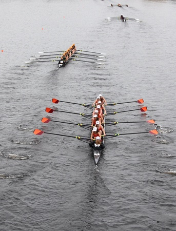 BOSTON - OCTOBER 23: Wayland-Weston Rowing youth womens Eights races in the Head of Charles Regatta. Oakland Strokes won with a time of 17:12 on October 23, 2011 in Boston, MA.