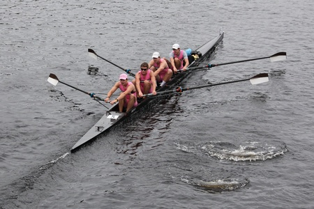university of wisconsin: BOSTON - OCTOBER 23: Brown University Mens Fours races in the Head of Charles Regatta. University Of Wisconsin Mens Crew won with a time of 16:12 on October 23, 2011 in Boston, MA.