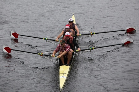 university of wisconsin: BOSTON - OCTOBER 23: Harvard University Mens Fours races in the Head of Charles Regatta. University Of Wisconsin Mens Crew won with a time of 16:12 on October 23, 2011 in Boston, MA.