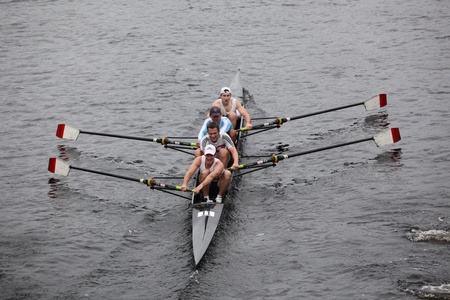 university of wisconsin: BOSTON - OCTOBER 23: New York Athletic Club Mens Fours races in the Head of Charles Regatta. University Of Wisconsin Mens Crew won with a time of 16:12 on October 23, 2011 in Boston, MA.