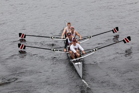 BOSTON - OCTOBER 23: Stanford University Mens Fours races in the Head of Charles Regatta. University Of Wisconsin Mens Crew won with a time of 16:12 on October 23, 2011 in Boston, MA.
