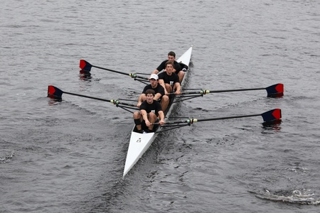 university of wisconsin: BOSTON - OCTOBER 23: University of Pennsylvania Mens Fours races in the Head of Charles Regatta. University Of Wisconsin Mens Crew won with a time of 16:12 on October 23, 2011 in Boston, MA.