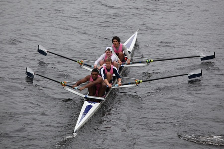 university of wisconsin: BOSTON - OCTOBER 23: Yale University Mens Fours races in the Head of Charles Regatta. University Of Wisconsin Mens Crew won with a time of 16:12 on October 23, 2011 in Boston, MA.
