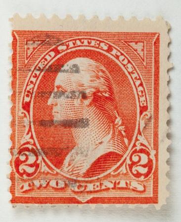 미국 - 1895 년경 미국에서 인쇄하는 스탬프. 조지 워싱턴 프로필에 표시합니다. 미국 - 1895 년경. 에디토리얼