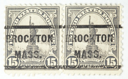 Statue of Liberty, with a Brockton, Massachusetts cancellation mark. United States - circa 1931-1932.  photo