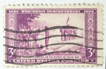 Nicolets landing of the shores of Green bay Postage Stamp circa 1934 photo