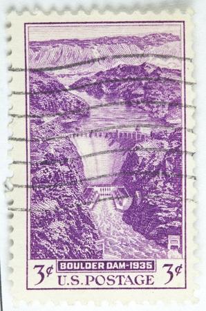 1936 년경, 볼더 댐의 경치. 스톡 콘텐츠