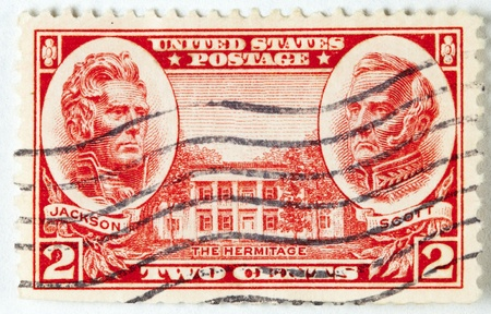 usps: President Jackson and Winfield Scott and the Hermitage building, circa 1936 Stock Photo