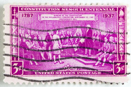 UNITED STATES - CIRCA 1936 : A stamp printed in United States. Displays the signing of the Declaration of Independence. United States - circa 1936 Stock Photo - 12025094