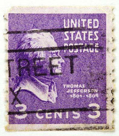statesman: UNITED STATES - CIRCA 1938   A stamp printed in United States displays the profile of President Thomas Jefferson - circa 1938