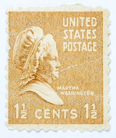 postmark: UNITED STATES - CIRCA 1938   A stamp printed in United States  Displays the image of Martha Washington  United States - circa 1938