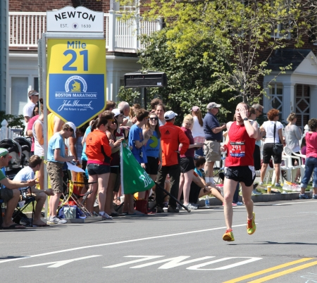 BOSTON - APRIL 16: Nearly 22500 runners participated in the Boston Marathon on a record hot day of 87 F on April 16, 2012 in Boston. Wesley Korir (Kenya) finished first with a time of 2:12:40.