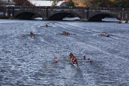 BOSTON - OCTOBER 21 Wayland-Weston Rowing Association races in the Head of Charles Regatta, Marin Rowing Association won with a with a time of 12:59 on October 21, 2012 in Boston, MA.  Stock Photo - 15987307