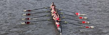 BOSTON - OCTOBER 21 Fairport Crew Club races in the Head of Charles Regatta, Marin Rowing Association won with a with a time of 12:59 on October 21, 2012 in Boston, MA.  Stock Photo - 15944282