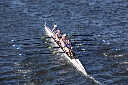 BOSTON - OCTOBER 20  Union Boat Club races in the Directors  Challenge Quad Men in the Head of Charles Regatta on October 20, 2013 in Boston, MA 報道画像